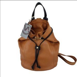 Valentina Cognac Pebbled Italian Leather Backpack